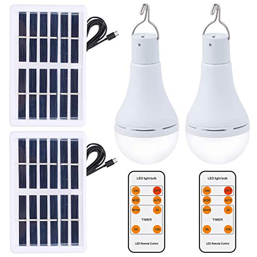 OwnZone Solar Light Bulb Outdoor 7W Rechargeable Led Bulb Solar Powered Light with Remote Timer, Lighting Sensor, 4 Lighting Mode for Chicken Coops Shed Hiking Camping Hurricane Lighting (2Pack)