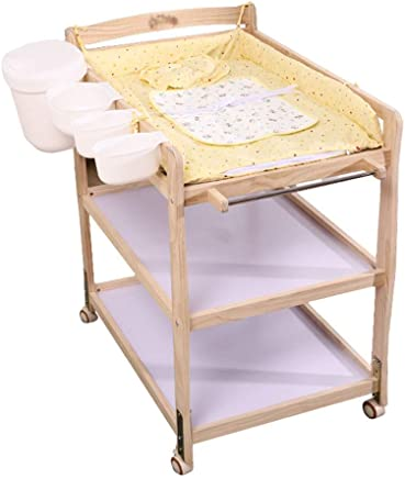 LNDDP Baby Changing Table 3-Shelf Station with Waterproof Board  Portable Changer Baby Storage Box  Wooden Unit Dresser w Wheels