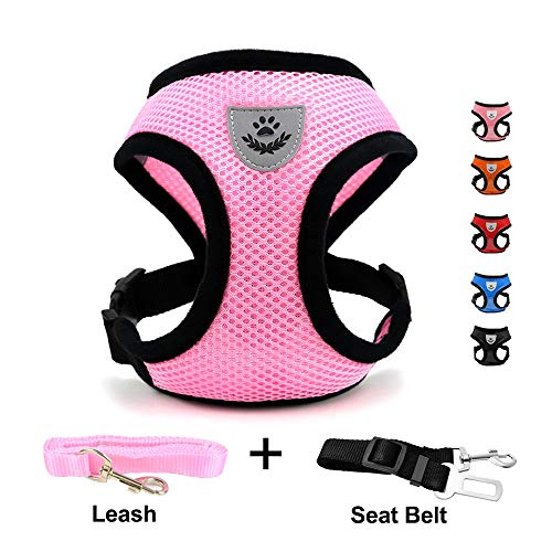 INVENHO Mesh Harness with Padded Vest for Puppy and Cats No Choke Design Ventilation Gift with One Leash & Seat Belt(Small,Pink)