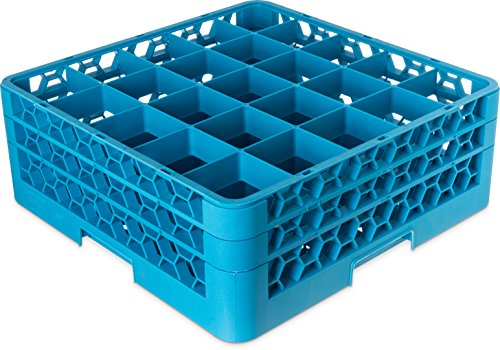 Carlisle (RG25-214) OptiClean Dishwasher Glass Racks, Set of 3 (25-compartments, Polypropylene, Carlisle Blue)