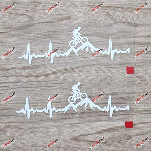 2X White 6'' Cycling Funny Bike Bicycle Decal Sticker Vinyl Heart Beat Mountain Racing Rider