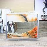 Imagen Arena Dinámica 3D, Pantalla Paisaje Natural Vidrio Cuadrado en Movimiento, Marco Arena Fluida, Juguete Relajante Artístico, Arte Escritorio en Movimiento,Naranja,10 Inch
