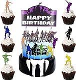 Kit Decoración de Tartas de Cumpleaños Adorno de Pastel Velas de Cumpleaños Globo de Confeti Happy Birthday Topper Estrellas para Fiestas, Bodas, Aniversarios, Niños