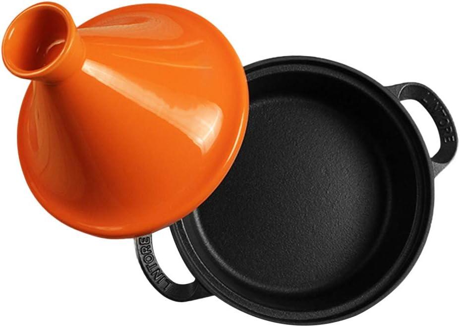 Cocotte En Fonte Avec Couvercle 26cm - Cuiseur à Rôtir Antiadhésif Pour Four Hollandais Sans Danger Pour Le Gaz - Avec Couvercle,Orange Green