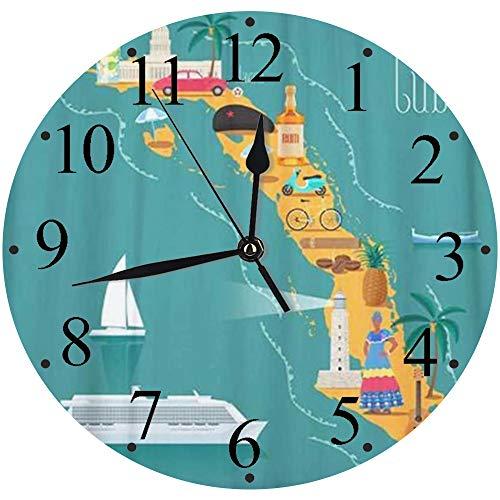 LUHUN Reloj de Pared Moderno,Mapa de la Playa de Cuba Lugares de interés cubanos Mujer Cigarros Explore Cochereloj de Cuarzo de Cuarzo Redondo No-Ticking para Sala de Estar 30 cm