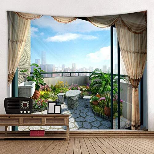 Balcón Vista de la ciudad Impreso Tapiz de pared grande Tapices de pared Mandala Decoración de pared 150X200CM