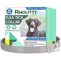 Rmolitty Collar Antiparasitario Garrapatas Pulgas Perros, Natural Impermeable Prevención contra Garrapatas 8 Meses de protección para Grande Mediano Pequeño Perro (60cm)