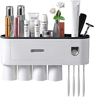 Multifunctional Toothbrush Holder with 4 Cups, Automatic Toothpaste Dispenser, Toothbrush Organizer with Drawer, Wall-Moun...