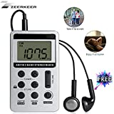 ZEERKEER AM/FM Pocket Radio, Portable Digital Tuning Stereo Walkman Radio with Rechargeable Battery, LCD Display and Earphone, Mini Personal Radio for Walk/Jogging/Gym/Camping (Silver)