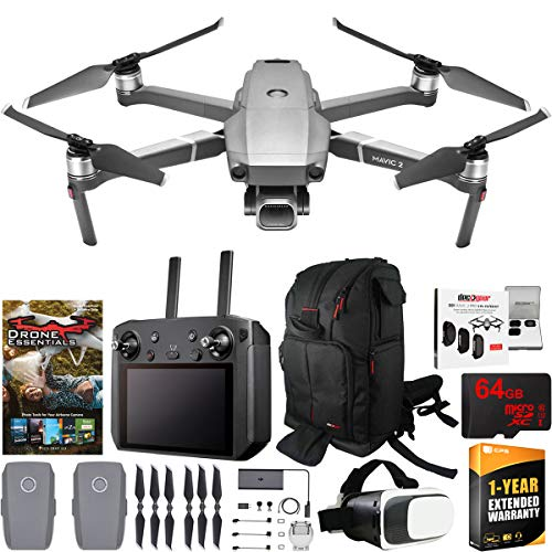 DJI Mavic 2 Pro Drone with Hasselblad Camera Smart Controller Essential Max Flight Bundle with Backpack, Filter Kit, VR FPV Goggles, High Speed 64GB SDXC Card, Software and 1 Year Warranty Extension