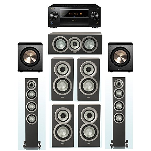 Best Price ELAC Uni-Fi Slim Black 7.2 System with 2 FS-U5 Floorstanding Speakers, 1 CC-U5 Center Spe...