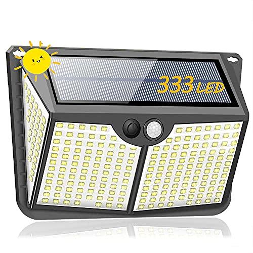 Luces solares AVEDISTANT, luces exteriores, versión mejorada de 333 luces solares LED, 3 luces solares exteriores IPX6, luces solares LED impermeables Iluminación exterior de 270 °, con sensor de movimiento, apto para jardines, terrazas, terrazas, casas, carreteras