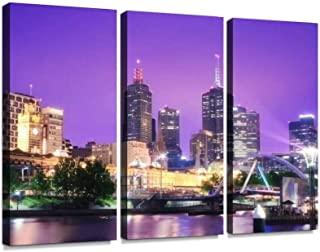 Night Urban City Skyline Melbourne Australia Print On Canvas Wall Artwork Modern Photography Home Decor Unique Pattern Stretched and Framed 3 Piece