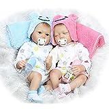 ZELY Realistische Zwillinge Baby Reborn Baby Puppen Silikon Vinyl 22 Zoll 55 cm Junge and Schlafen...