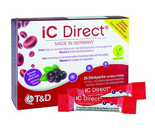 iC Direct – Iron 14 mg & Vitamin C 80 mg – 20 Sachets with Micro-pellets – Elderberry Taste – T&D Pharma