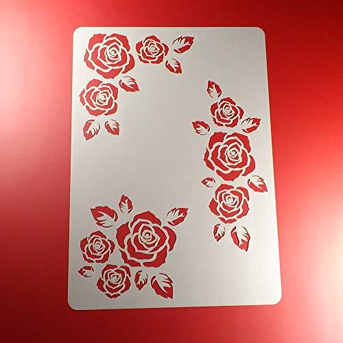 Schablone Rosen Blätter Blüten 3 Motive - BO03