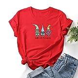 VEMOW Camiseta de Mujer Manga Corta Cuello Redondo, 2021 Moda Corazón Impresión Basica Clásico Camiseta Suelto Blusas Camisas Tops Verano Tops Casual Fiesta E-Girl T-Shirt Original tee(B Rojo,3XL)