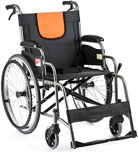 Silla de ruedas portátil de aluminio plegable manual con ruedas traseras de 22 pulgadas, apta para discapacitados