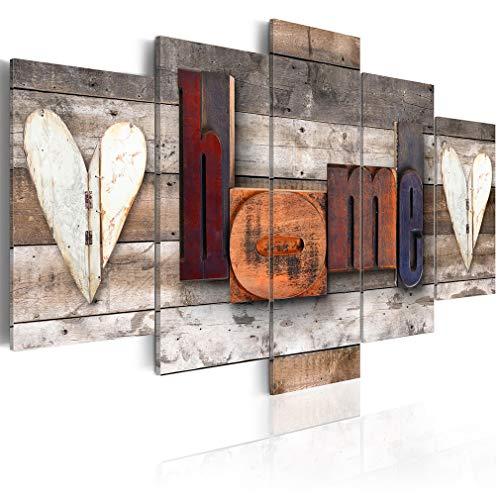 decomonkey Bilder Home 200x100 cm XXL 5 Teilig Leinwandbilder Bild auf Leinwand Wandbild Kunstdruck Wanddeko Wand Wohnzimmer Wanddekoration Deko Haus Holz
