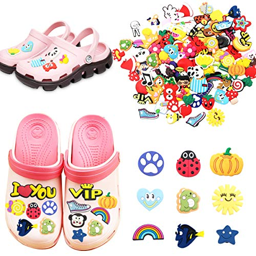 Ciondoli Scarpe 100 Pezzi PVC Shoe Charms Colori e stili casuali,per Decorazione di Feste, Regali Natale per Bambini