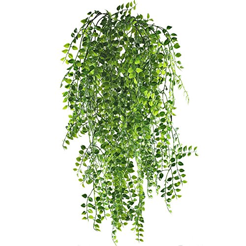 MIHOUNION Artificial Ivy Vine 2Pcs Artificial Hanging Vine Plants Fake Greenery Ivy Garland for Wedding Wall Outdoor Hanging Planter Fence Trellis