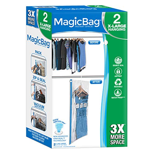 Smart Design MagicBag Instant Space Saver Storage - Hanging Extra Large Dress - Airtight Double Zipper - for Clothing, Pillows, More - Home Organization - (2 Bags)