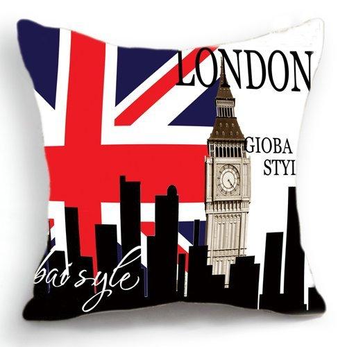 Diseño Retro en una notificación la bandera del Reino Unido de Londres del Big Ben de diseño con texto en inglés de cojín con funda de almohada Sham 45 cm