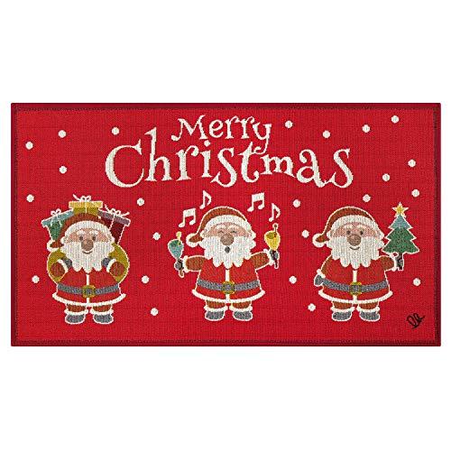 Olivo.Shop | Noel, Babbi Natale - Tappeto Antiscivolo da Interno e zerbino Esterno in Fantasia Natalizia (45x78 cm)