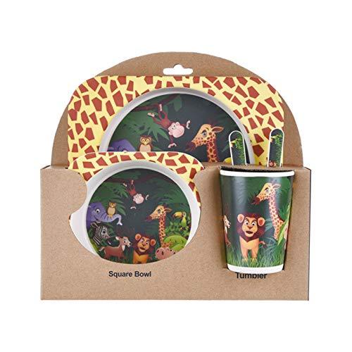 5 unids/set de fibra de bambú para niños, plato de comida, cuenco, taza, cuchara, tenedor, vajilla, vajilla de dibujos animados, apto para lavavajillas, salud infantil