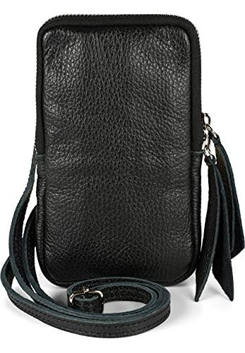 styleBREAKER 02012374 - Bolso bandolera de piel con superficie granulada y cremallera para mujer, color Negro, talla Einheitsgröße