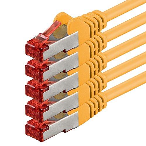 1aTTack.de Netzwerkkabel Cat 6 (1m - gelb - 5 Stück) Ethernetkabel Cat Kabel Lankabel Cat6 (SFTP PIMF) doppelt geschirmt Patchkabel Set 1000 Mbit/s Internet DSL Anschluss Router Computer