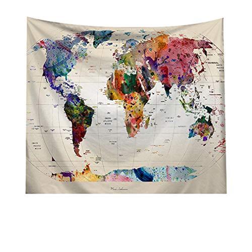 AidShunn Tapiz Mapa del Mundo Colgar en la Pared Manta de Fondo Multicolor para Sala de Estar Dormitorio Dormitorio Casa