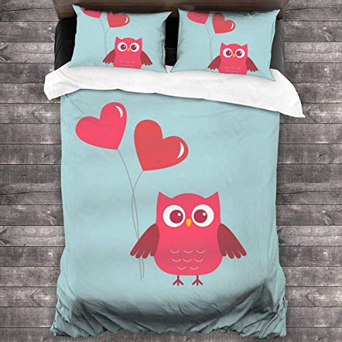 shenguang Red Owl and Loving Heart 3-Piece Bedding Set,All-Season Quilt Duvet Cover with 2 Pillowcases, Soft Zipper Bedspread Coverlet No Comforter 86'x70'