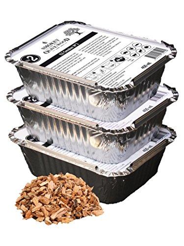 Smokey Olive Wood 3x400ml, virutas de Madera de Olivo para Barbacoa & ahumar, Talla 5mm - 1cm, Listo para su fácil Uso, en Bandeja de Aluminio