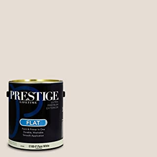 Prestige Paints E100-P-SW7035 Exterior Paint and Primer in One, 1-Gallon, Flat, Comparable Match of Sherwin Williams Aesthetic White, 1 Gallon, SW270-Aesthetic