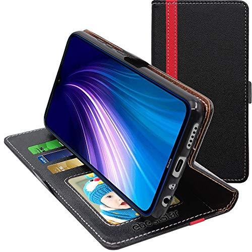 ebestStar - Funda Compatible con Xiaomi Redmi Note 8T Carcasa Cartera Cuero PU, Funda Libro Billetera Ranuras Tarjeta, Función Soporte, Negro/Rojo [Note8: 161.1 x 75.4 x 8.6mm, 6.3'']