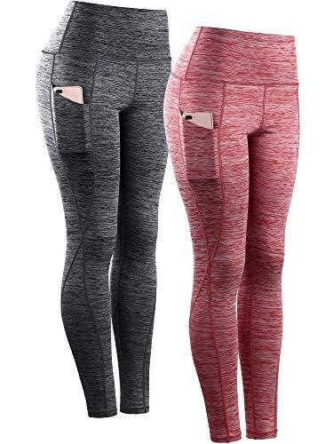Neleus Women s Yoga Pant Running Workout Leggings with Pocket Tummy Control High Waist,9033,2 Pack,Black,Red,US 2XL,EU 3XL