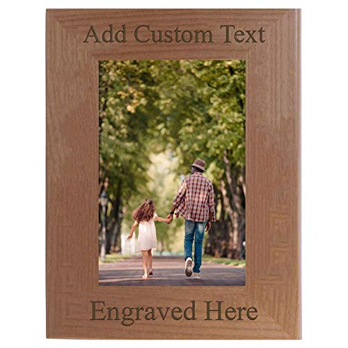 Personalized Add Your Custom Text Hanging/Tabletop Wall Natural Alder Wood Picture Photo Frame Customizable (5x7-inch Vertical)