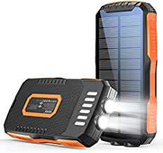 Power Bank 30000mAh Solar Charger with Dual 5V 2.1A Fast Charging Portable Phone Charger 10W Wireless, External Battery Ultra Bright 6W LED Flashlight IPX5 Waterproof for Cell Phone iPad