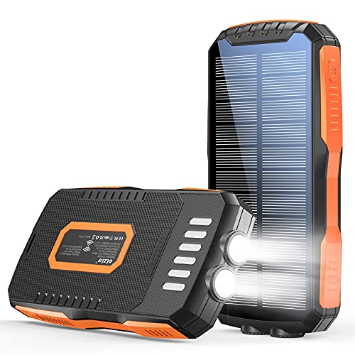 Power Bank 30000mAh Solar Charger with Dual 5V 2.1A Fast Charging Portable Phone Charger 10W Wireless, External Battery Ultra Bright 6W LED Flashlight IPX5 Waterproof for Cell Phone Tablet