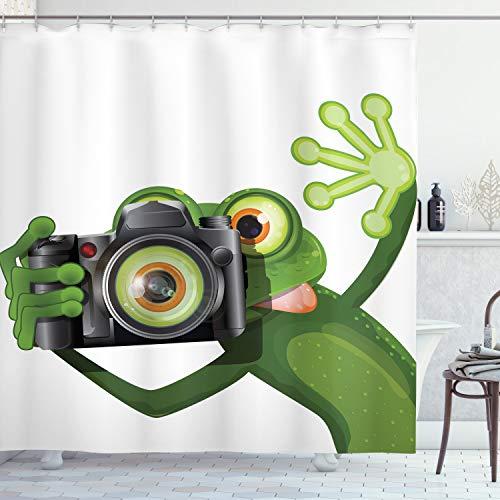 ABAKUHAUS Frosch Duschvorhang, Lustiges Tier mit Kamera, mit 12 Ringe Set Wasserdicht Stielvoll Modern Farbfest & Schimmel Resistent, 175x240 cm, Weiß Schwarz