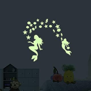akeke Glow in The Dark Mermaid Peel and Wall Decals Ocean World Decorations Wall Stickers Glow in The Dark Stars for Girls Bedroom Home Decor