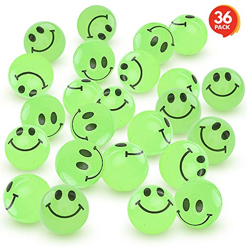 ArtCreativity Glow in The Dark Smile Face Bouncing Balls - Bulk Pack of 36-1 Inch High Bounce Bouncy Balls for Kids, Glowing Party Favors and Goodie Bag Fillers for Boys and Girls