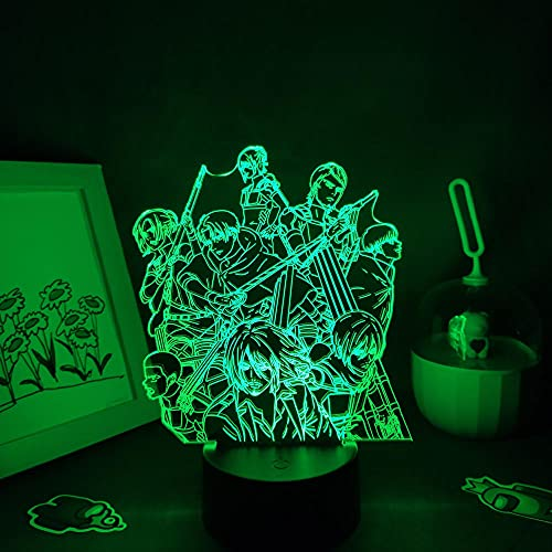 MDJK - Luz nocturna 3D para niños y adultos, ataque a titanio, anime, figura de manga, regalo Shingeki no Kyojin, papel pintado grupo 3D lámpara dormitorio decoración de mesa 7 colores Touch