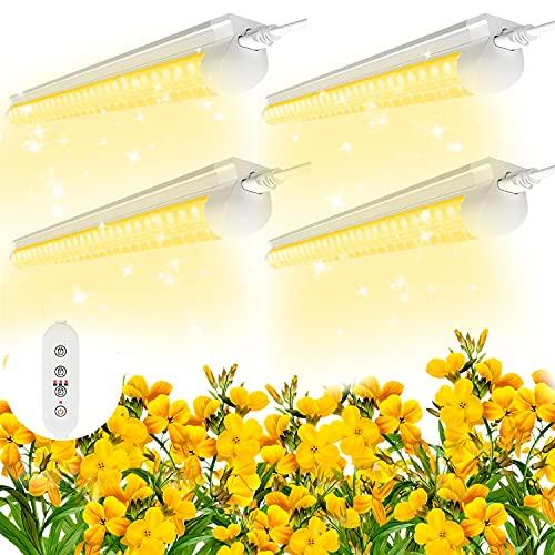 (4 pezzi) Lampada per Piante SHOPLED, T8 2FT160W spettro completo Lampade Grow Light,Luce bianca calda con Timer 9 12 15H, Adatto per piantare giardinaggio indoor, ortaggi, frutta lampada piante