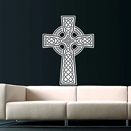 Celtic Cross Wall Decal Celtic Cross Decals Wall Vinyl Sticker Home Interior Wall Decor for Any Room Housewares Mural Design Graphic Bedroom Wall Decal Bathroom (5848)