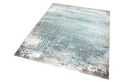 CARPETIA Moderner Teppich Antik Vintage Ornamente grau Creme türkis Größe 160x230 cm