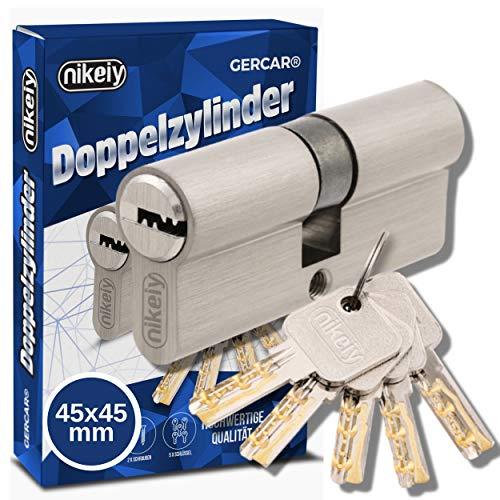 GERCAR Pro 90 mm Schließzylinder Profilzylinder 45/45 Massiver Doppelzylinder Zylinderschloss Türschloss - aus Messing Vernickelt - inkl. 5 Schlüssel - Wendeschlüssel - A:45 B:45 - 1er Set