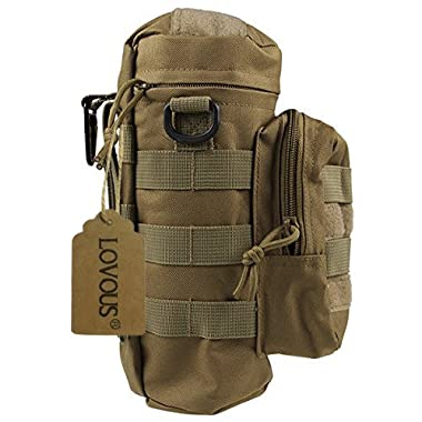 LOVOUS Military MOLLE Tactical Travel Water Bottle Kettle Pouch Carry Bag Case Outdoor Activities (Coyote Tan)