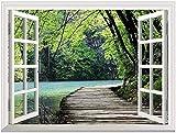 3D Forest Bridge Landscape View Falsche Faux Fensterrahmen Wandaufkleber Fenster Wandbild Vinyl Schlafzimmer Wandtattoos Aufkleber Home Decor-60x90cm_